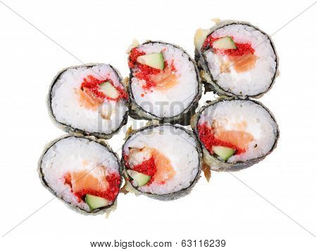 Top View Of Hot Rolls With Salmon