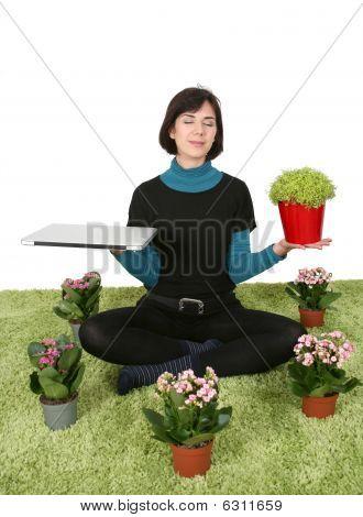 Womancomputermeditationbalance