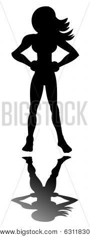 Silhouette of posing superheroin