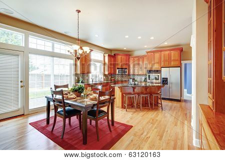 Modern Kitchen Room With Island And Dining Area