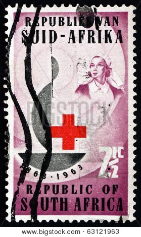 Postage Stamp South Africa 1963 Centenary Emblem And Nurse