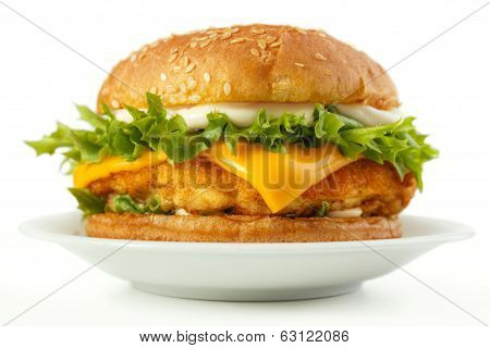 Fish burger on plate