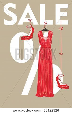 Sale Design Template.red Party Dress And High Heeled Shoes