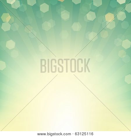 Sunburst Background With Bokeh, With Gradient Mesh, Vector Illustration