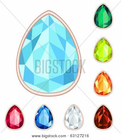Amber, Citrine, Ruby, Diamond, Sapphire, Emerald Teardrop Gemstone Set