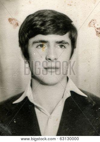 LODZ, POLAND, CIRCA 1950's: Vintage photo of man