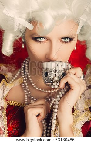 Beautiful Baroque Woman Portrait Drinking from a Cup