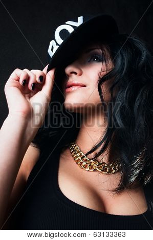 Sexy Brunette In Cap. Swag