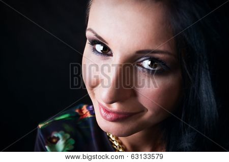 Portrait Of Pretty Brunette. Swag Girl. Fashion