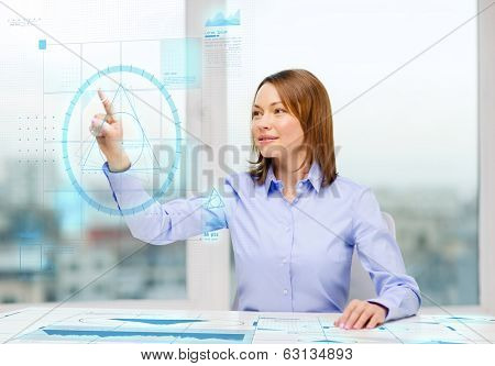 business, education and technology concept - smiling businesswoman working with virtual screen in office