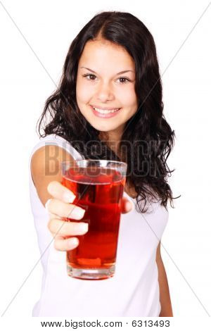 Young Woman With Red Drink