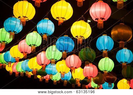 Colorful chinese lanterns in Chinatown, Bangkok
