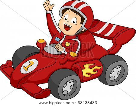 Illustration of a Little Boy Happily Waving from His Race Car