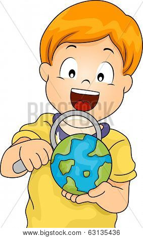 Illustration of a Little Boy Using a Magnifying Glass to Examine a Globe