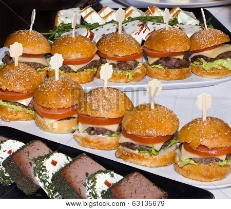 Mini Burgers on Table from Catering