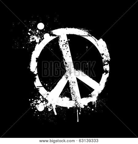 detailed illustration of a grungy peace symbol, eps10 vector