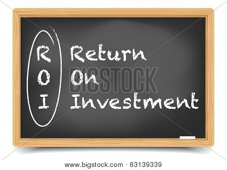 detailed illustration of a blackboard with ROI term explanation, eps10 vector, gradient mesh included