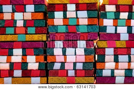Traditional mexican woven colorful wood toy blocks close up