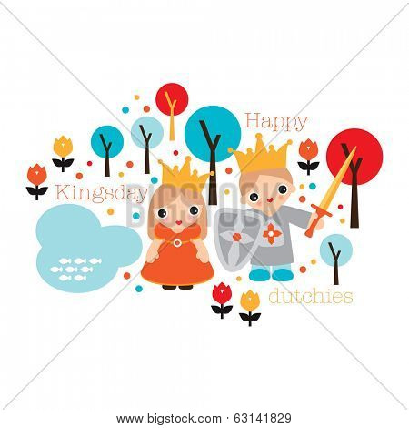 Happy dutch day of the king Holland kingsday theme illustration print with princess and crown in vector