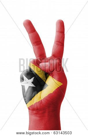 Hand Making The V Sign, East Timor (timor-leste) Flag Painted As Symbol Of Victory, Win, Success - I