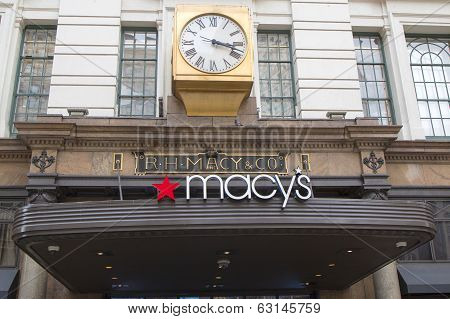 Sign at Macy's Herald Square on Broadway in Manhattan