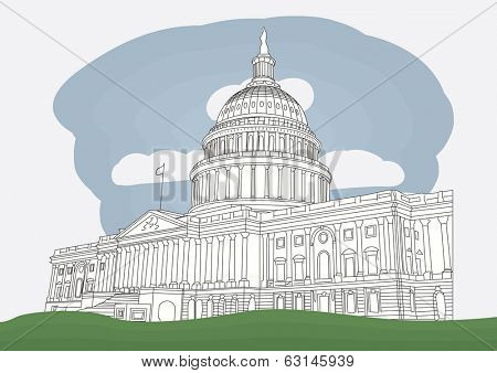 The US Capitol in Washington DC. vector illustration