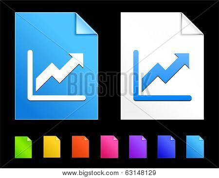 Chart Icons on Colorful Paper Document Collection