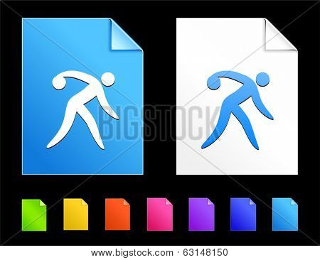 Bowling Icons on Colorful Paper Document Collection