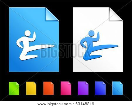 Karate Icons on Colorful Paper Document Collection