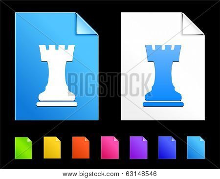 Rook Icons on Colorful Paper Document Collection