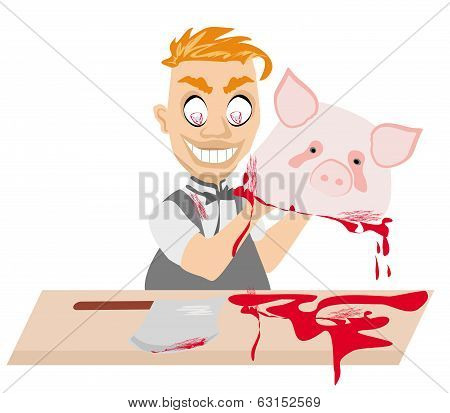 Crazy Insane Butcher Covered With Blood