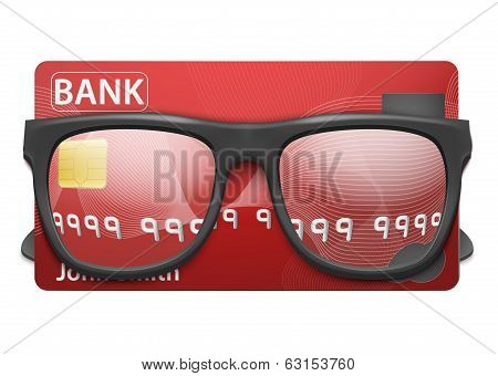 Vector illustration of credit card and glasses