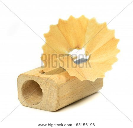 A wooden pencil sharpener