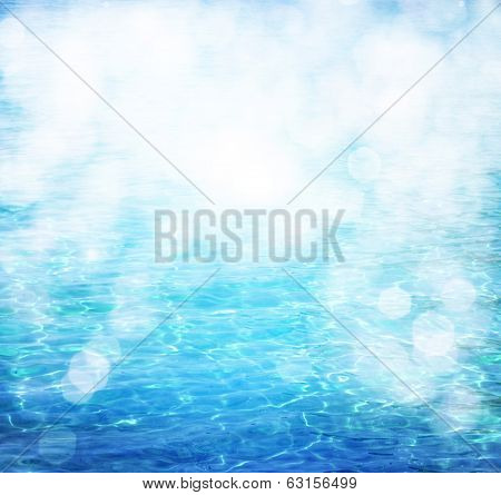 Water Surface with bokeh lights from sunrise