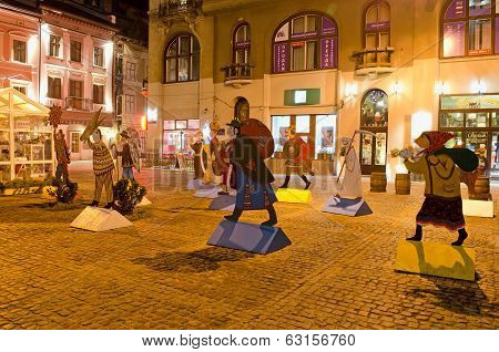 Characters Of Christmas Carols, On The One Of The Squares In The Center Of Lvov