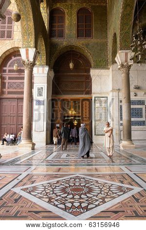 SYRIA, DAMASCUS - MARCH 10, 2008: Umayyad Mosque in Damascus. This historic mosque is one of the most important building for Islam religion.