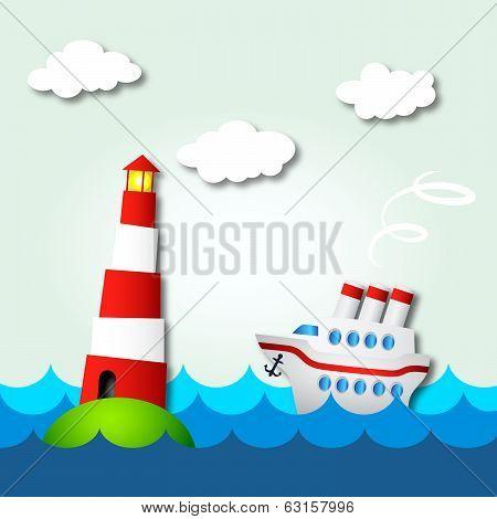 cruise ship and lighthouse