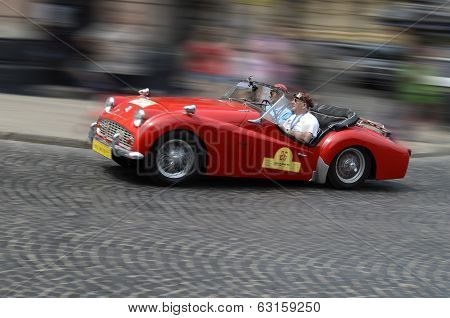 Retro Car On Road Racing Through The Streets Of Lvov
