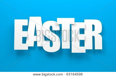 Happy easter on blue.