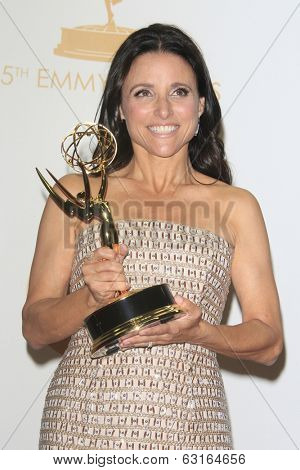 LOS ANGELES - SEP 22: Julia Louis Dreyfus in the press room during the 65th Annual Primetime Emmy Awards held at Nokia Theater L.A. Live on September 22, 2013 in Los Angeles, California