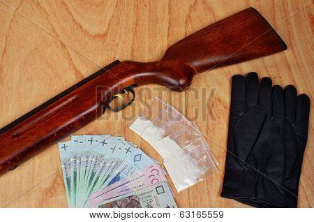 Bags Of Drugs,  Polish Money And Gun