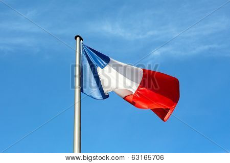 Flag Of France Against The Sky