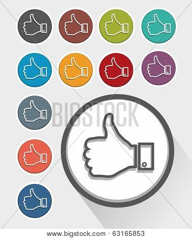 Like thumb up icon set