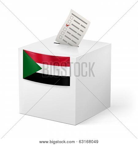 Ballot box with voting paper. Sudan