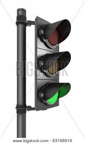 Traffic light isolated on white - 3d render