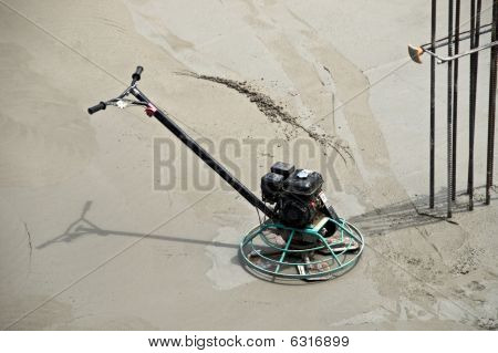 Power Trowel On Drying Concrete