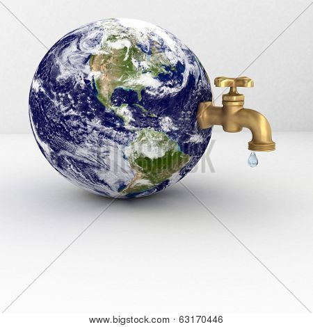 Water tap on planet Earth dripping with oil isolated on white. Elements of this image furnished by N