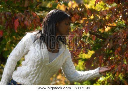 Afroamerikanerfrau genießt Herbst