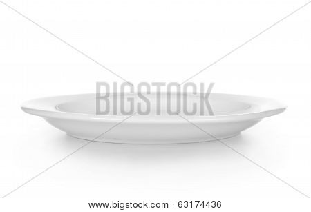 white empty plate over a white background
