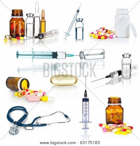 collection medical ampules, bottles, pills and syringes, isolated on white